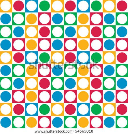 A colorful, vector pattern made from circles and squares.