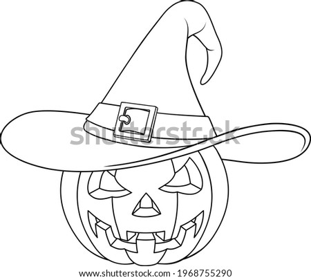A coloring book page drawing of a Jack O Lantern Halloween pumpkin Foto stock ©