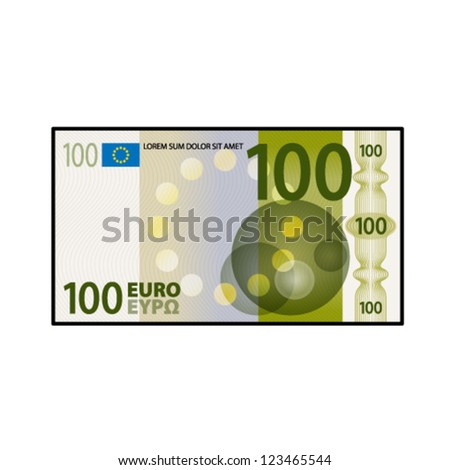 A colourful $100 €100 bank note / paper money.