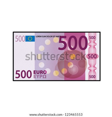 A colourful $500 €500 bank note / paper money. - stock vector
