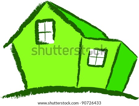 A Colourful Green Modern House Illustration Vector