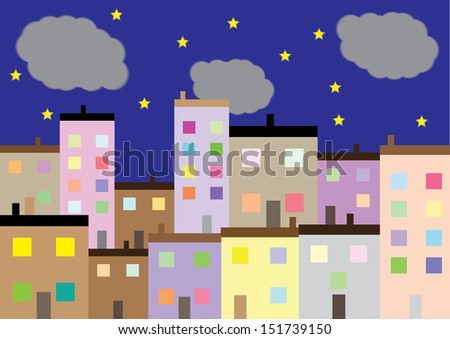 A Colourful Housing Estate at Night. Vector