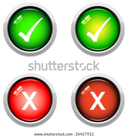stock vector : A Colourful Set of Tick and Cross Buttons