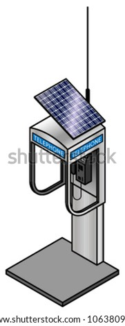 A compact phone booth with a solar panel and antenna. - stock vector