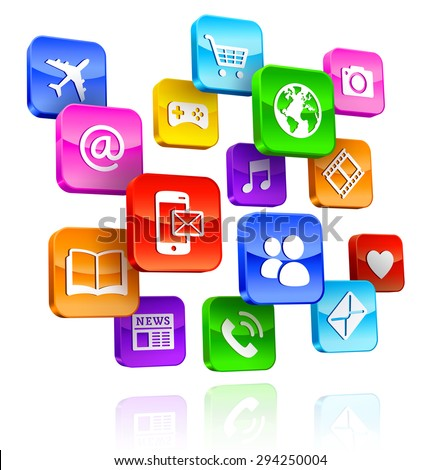 A Composition of internet multicolored 3D App Icons.