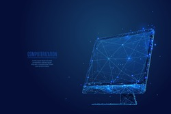 A computer monitor composed of polygons. Low poly vector illustration of a starry sky style. Gadget consists of lines, dots and shapes. Internet or digital or devices and computer symbol.