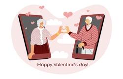 A concept of Valentine's day online date. Vector illustration of elderly couple together via smartphone mobile app. Internet dating application. Long distance lockdown romantic seniors relationship.