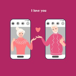 A concept of Valentine's day online date. Vector illustration of elderly couple together via smartphone mobile app. Internet dating application. Long distance lockdown romantic seniors relationship.
