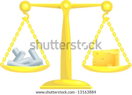 A concept vector illustration showing chalk and cheese on scales. Attempting to compare or balance chalk and cheese. Balancing conflicting priorities. - stock vector