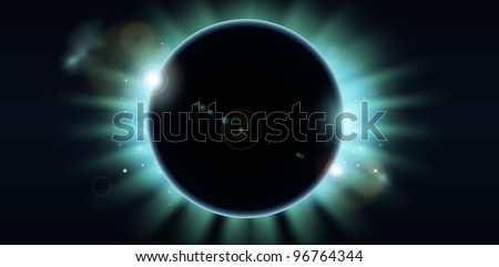A conceptual background featuring a total eclipse. Copy-space centre and to the sides.
