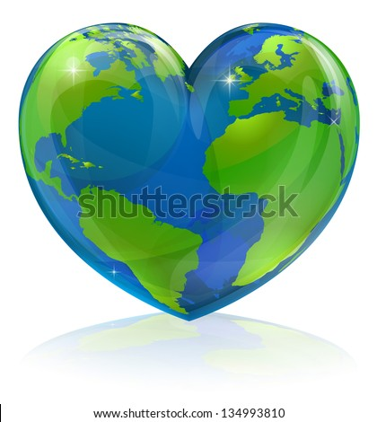 A conceptual illustration for loving the world, the globe in the shape of a love heart. Could be used for environmental or travel and tourism related themes. - stock vector