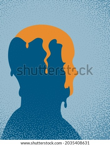 A conceptual illustration of a person recovering from their mental health. Vector illustration. Foto stock ©