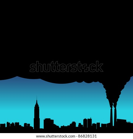 A conceptual vector illustration showing the polluted smoke from a factory chimney over a city.