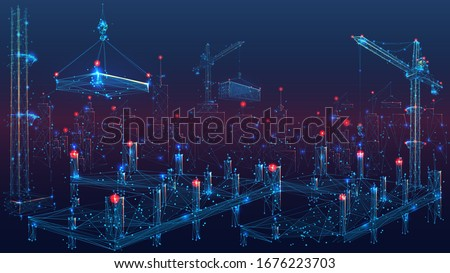 A Construction Site with Lots of Tower Cranes. Low Poly wireframe digital vector illustration. Polygons, lines, particles  and connected dots. Horizontal banner template.  Foto stock ©