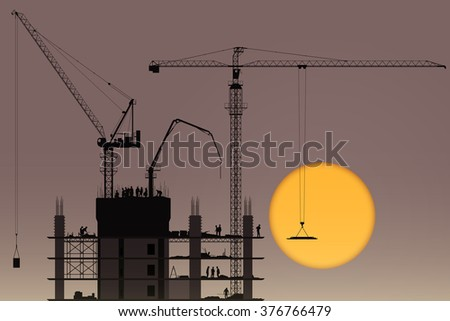 a construction site with tower