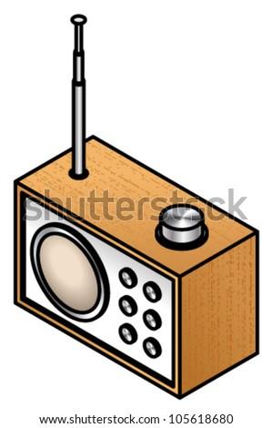 A contemporary designer wooden radio.