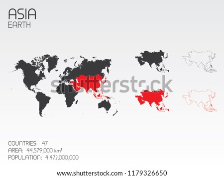A Continent Shape Illustration of  Asia
