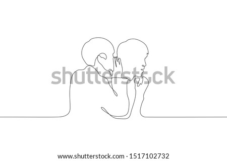 A continuous line art silhouette of two men, one of whom whispers in the ear of the other. Share a secret with a friend. Gossips. Can be used for animation. Vector Photo stock ©