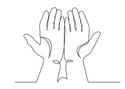 A continuous one-drawn line silhouette of the palm of an Islamic praying and a symbol of faith mosque. The concept of a religious image of a Muslim.