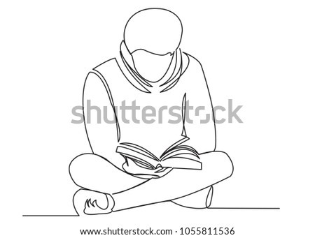 A continuous single one is a drawn line of a student reading a writer who is engaged in a book, a textbook. The concept of education studies.