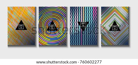 A4 cool covers set. Vector childrens bright journal background. Corporate identity geometric halftone modern design. Dynamic intersected lines for music festival poster, cool ads or folder background.