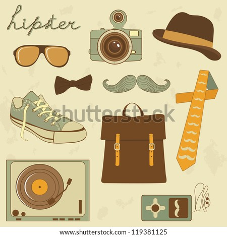 A cool set of hipster related items