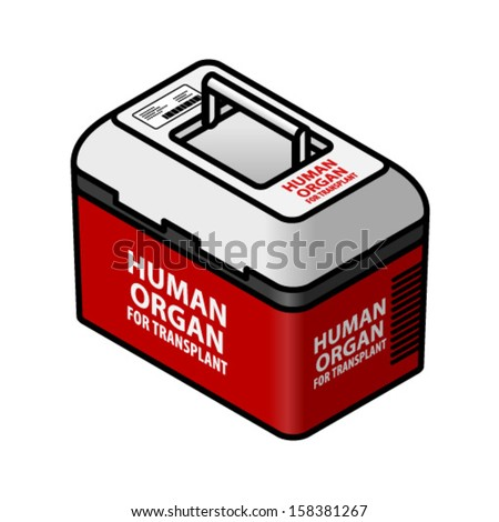 A cooler box for transporting human organs for transplant.