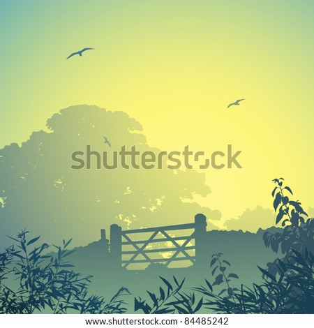 a country landscape with gate