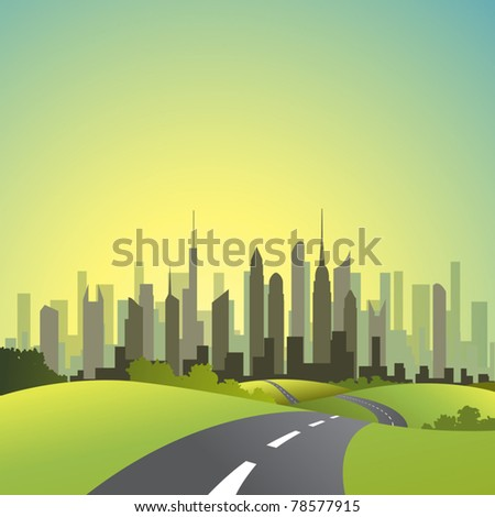 A Country Landscape with Road and Cityscape