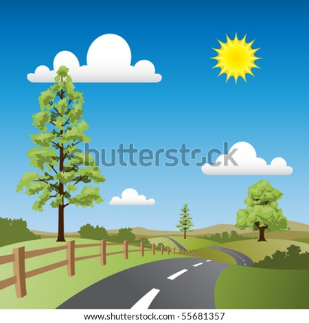 A Country Landscape with Road and Trees