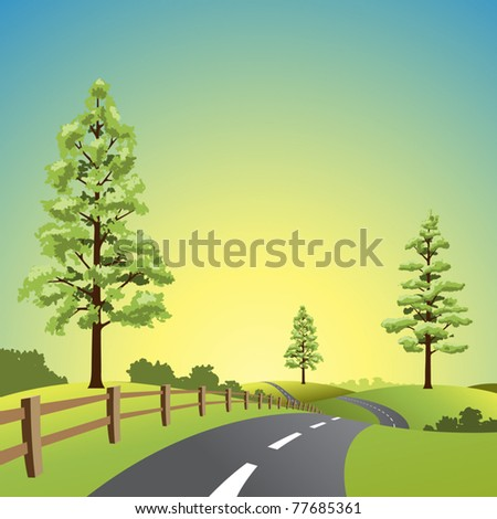 a country landscape with road
