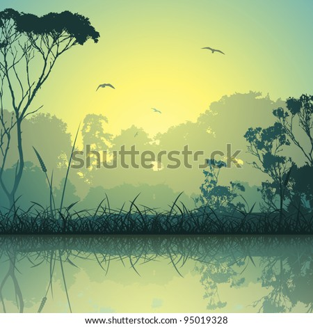 A Country Meadow Landscape with Trees and Reflection in Water