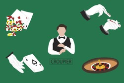 A coupier table, casino vector illustration.