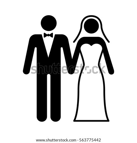 A couple getting married at a wedding ceremony flat icon for marriage apps and websites