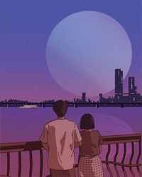 A couple is watching the sunset. Romantic atmosphere. hand drawn style vector design illustrations.