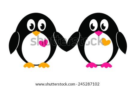 Cartoon penguins holding hands - photo#5