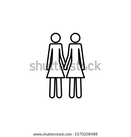 a couple of lesbians icon. Element of LGBT illustration. Premium quality graphic design icon. Signs and symbols collection icon for websites, web design, mobile app on white background #1070208488