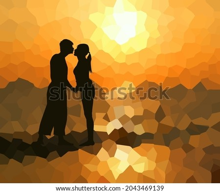 a couple of lovers kiss at
