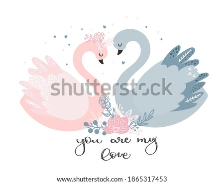 A couple of lovers ' swans. Pink and gray Swan swim towards each other. Cute greeting card for wedding invitation, for Valentine's day