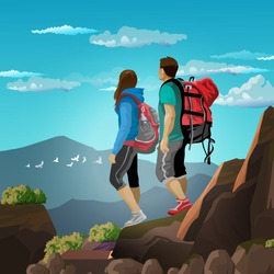 A couple of tourists, a guy and a girl, are walking in the mountains. Beautiful outdoor landscape. People with backpacks. Tourism, recreation, rock climbing. Colorfull illustration