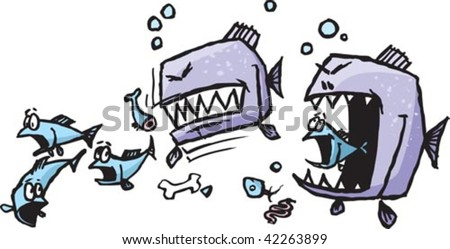 A couple of vicious cartoon piranha ripping into a hapless school of fish. Rendered in a loose style. Layered vector file.