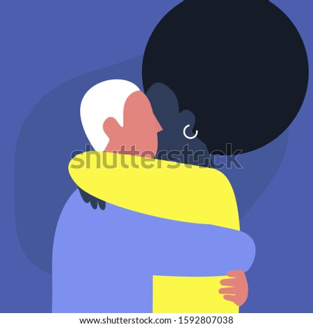 A couple of young adults hugging each other, affectionate partners, Saint Valentine day
