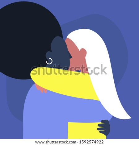 A couple of young female adults hugging each other, affectionate partners, Saint Valentine day, LGBTQ rights