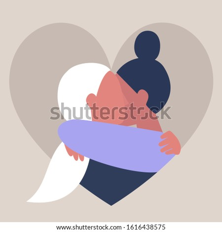 A couple of young female adults hugging each other, affectionate partners, Saint Valentine day, LGBTQ
