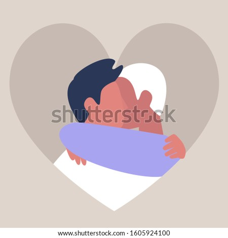 A couple of young male adults hugging each other, friendship and support, affectionate partners, Saint Valentine day, LGBTQ