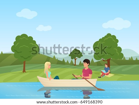 a couple swimming on boat in