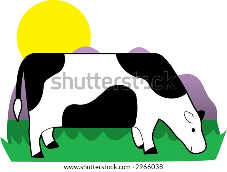 A cow grazing in the grass on a sunny day