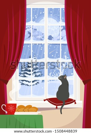 A cozy window with a cat on the windowsill and a winter night landscape.