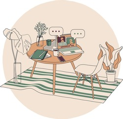 A cozy workplace for remote workers, freelancers and people working at home office. Indoor coffee table with laptop and coworkers chatting online with speech bubbles. Vector simple hand drawn image