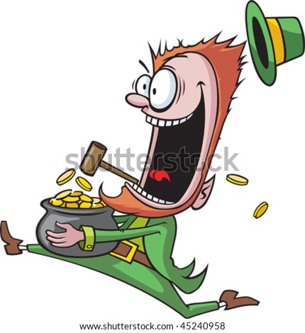 A crazy cartoon Leprechaun running with his pot of gold.